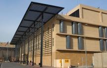 A large, beige building