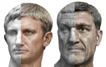 Artist Daniel Voshart's machine learning-assisted images of Roman emperors Augustus, left, and Maximinus Thrax, right.