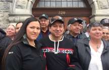 Rick Desautel, flanked by his daughter and his wife, Linda (right), celebrates his acquittal of illegal hunting charges outside the provincial courthouse in Nelson, British Columbia, in March 2017.