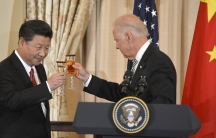 Chinese President Xi Jinpingand then-Vice President JoeBidenraise their glasses in a toast during a luncheon at the State Department, in Washington, Sept. 25, 2015.