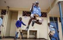Schoolchildren joke around and play at the Olympic Primary School in Kibera, Kenya, on Oct. 12, 2020.