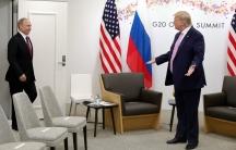 Russia's President VladimirPutin is greeted byUSPresident DonaldTrump at the G20 summit in Osaka, Japan, June 28, 2019.