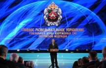 Russian President Vladimir Putin delivers a speech during the event marking the 100th anniversary of the Main Directorate of the General Staff of Russian Armed Forces, formerly known as the Main Intelligence Directorate (GRU), in Mosco
