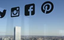 Social media icons on a window