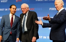 In this file photo, Democratic USpresidential candidatesJulianCastro, Bernie Sanders and Joe Biden are pictured on stage at a First in the West Event at the Bellagio Hotel in Las Vegas, Nevada, Nov.17, 2019.