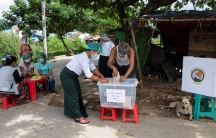 A man cast his ballot during the early voting ahead of the Nov.8 general election, amid the coronavirus disease (COVID-19) spread in Yangon, Myanmar, Oct. 30, 2020.