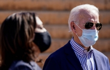 Democratic US presidential nominee Joe Biden and vice presidential nominee Kamala Harris are pictured in Phoenix, Oct.8, 2020.