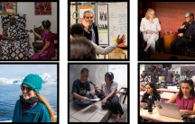A compilation of six photographs of The World staff on various assignments around the globe including in Ghana, Mexico and Antarctica.