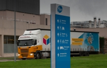 A truck leaves Pfizer Manufacturing in Puurs, Belgium, Dec. 2, 2020.