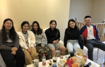 Emily Mao, second from left, joined a co-living community of students in Hangzhou, China, who are studying online —often overnight —at US and Canada-based colleges and universities.