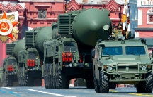 In this file photo taken on Wed.June 24, 2020, Russian RS-24 Yars ballistic missiles roll in Red Square during the Victory Day military parade marking the 75th anniversary of the Nazi defeat in Moscow, Russia.