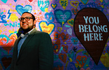 Ricky Hurtado, the first Latino candidate to run for North Carolina's House of Representatives, poses for a portrait by a mural in Graham on March 10, 2020. It's been a tumultuous few months for Hurtado. In November, the 32-year-old son of a Salvadoran im