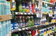 A grocery store aisle of cleaning and disinfecting products