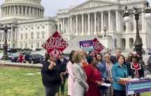 Minnesota Sen. Amy Klobuchar urges Senate to take up a bill renewing the Violence Against Women Act at a news conference outside the USCapitol in Washington,on May 22, 2019.