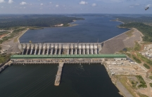 The Belo Monte hydroelectric dam stands in the Xingu River in Altamira, Para state, Brazil, Friday, Sept. 6, 2019.