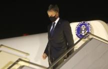 US Secretary of State Antony Blinken disembarks after landing at Boryspil International airport outside Kyiv, Ukraine, early Thursday, May 6, 2021.
