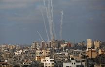 Smoke plumes from airstrikes in Gaza.