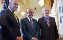 Senate Majority Leader Chuck Schumer,President of Afghanistan Ashraf Ghaniand Senate Minority Leader Mitch McConnell stand together at the Capitol
