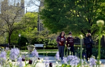 Students wearing masks make their way through the University of Chicago campus