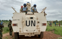 Peacekeepers from the United Nations Mission in the Republic of South Sudan (UNMISS) provide security during a visit of UNCHR High Commissioner Filippo Grandi to South Sudan's largest camp for the internally displaced, in Bentiu, South Sudan, Sunday, June