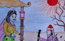 """""""A Queen's Dream,"""" illustration by Mayyu Khan, a Rohingya artist living in Kutupalong Refugee Camp, from """"Rohingya Folk Tales,"""" by Mohammed Rezuwan."""