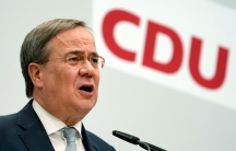 Armin Laschet, chairman of the German Christian Democratic Union, CDU, addresses the media during a press conference at the party's headquarters in Berlin, Germany, Monday, May 17, 2021.