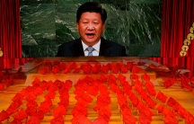 Chinese President Xi Jinping is displayed on a screen as performers dance at a gala show ahead of the 100th anniversary of the founding of the Chinese Communist Party in Beijing