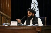 Taliban spokesman Zabihullah Mujahid speaks during a press conference in Kabul, Afghanistan