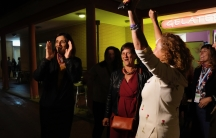 """Activists of the """"Unione Donne Sammarinesi"""" San Marino's women union camp celebrate in San Marino, Sept. 26, 2021, the victory in a referendum to decriminalize abortion in certain circumstances."""