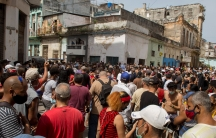 Anti-government protesters march in Havana, Cuba to protest against ongoing food shortages and high prices of foodstuffs