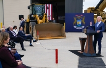 """President Joe Biden delivers remarks on his """"Build Back Better"""" agenda during a visit to the International Union Of Operating Engineers Local 324, Oct. 5, 2021, in Howell, Michigan."""