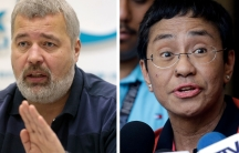 A combo of file images of Novaya Gazeta editor Dmitry Muratov, left, and of Rappler CEO and Executive Editor Maria Ressa, who were awarded the 2021 Nobel Peace Prize