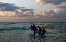 In this photo taken Tuesday, March 7, 2017, fishermen set out for their day's work in the Indian Ocean shortly after dawn in the former pirate village of Eyl, in Somalia's semiautonomous northeastern state of Puntland.