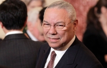 Former Secretary of State Colin Powell is seen at the State Department in Washington