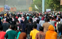Thousands of pro-democracy protesters take to the streets to condemn a takeover by military officials in Khartoum, Sudan, Monday, Oct. 25, 2021.