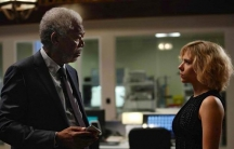 "Actors Morgan Freeman and Scarlett Johansson star in the upcoming film ""Lucy."""