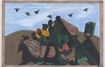 "Panel 3: ""In every town Negroes were leaving by the hundreds to go North and enter into Northern industry,"" 1940-41. Casein tempera on hardboard, 18 x 12″. (Courtesy of MoMA)"