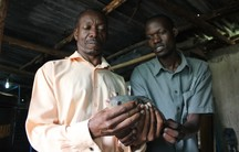 Kampala Entrepreneur Charles Mulamata is developing low-cost technology to produce fish, like this tilapia, and vegetables in a largely closed-loop system.
