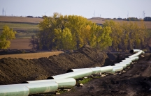 The Keystone Oil Pipeline is pictured under construction in North Dakota.