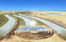An artist''s rendering of a full-scale commercial low-input desert agriculture facility. Project's designers say the concept should work in any low-altitude desert area near a large source of salt water.