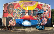 A mural by the artist Ever is appeared on the wall of a building in the city of Richmond, Virginia.