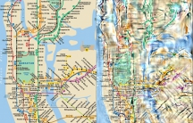 The New York City subway map (L) alongside a peripheral vision visualization (R) with a focus on the Times Square subway stop. Courtesy of Ruth Rosenholtz