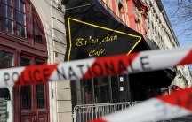 French police block the access to the Bataclan concert hall before the visit of members of a French parliamentary committee investigating government measures to fight shooting and bombing attacks at the site four months after a series of attacks at severa