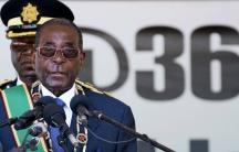 Zimbabwe's President Robert Mugabe addresses Zimbabwe's Independence Day celebrations in Harare, April 18, 2016.