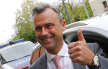 Presidential candidate Norbert Hofer arrives at the party headquarter of the Austrian Freedom party (FPOe) in Vienna, Austria, April 24, 2016.