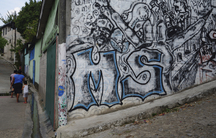 """Graffiti of the letters """"MS"""", which stand for the street gang Mara Salvatrucha, photographed in San Salvador on April 22, 2014. Mara Salvatrucha (MS-13) and Calle 18 are rival gangs that started in Los Angeles but now have a heavy presence in El Salvador."""
