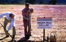 """Grgich and partner Austin Hills break ground on the Grgich Hills winery, July 4, 1977.  Grgich called it """"my independence day."""""""
