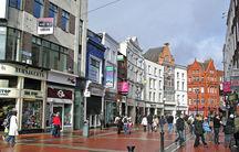 Grafton Street is a principal shopping street in Dublin's city center.
