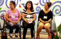 Irma Vásquez, far right, during a Centering Pregnancy session at San Francisco's Homeless Prenatal Program, which collaborates with San Francisco General Hospital and offers space for the meetings.