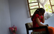 A woman in hiding at a shelter in Managua, Nicaragua